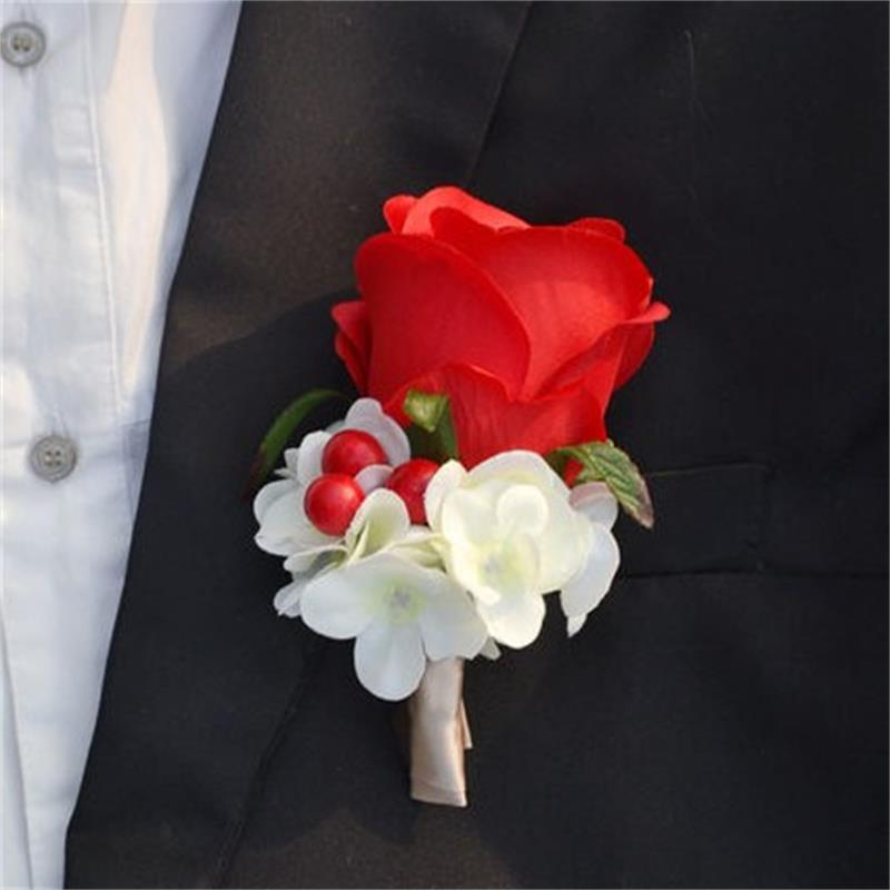Red Color Best Man Wedding Boutonniere Groom Godfather Pin