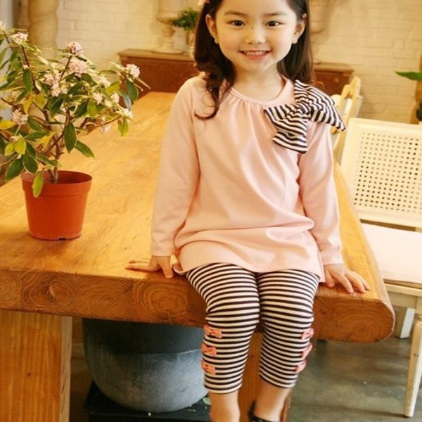 Girls Clothing Set Long Sleeve Shirts Clothing Sets Striped Leggings Pajama Suit Clothes Set 3-8 Y