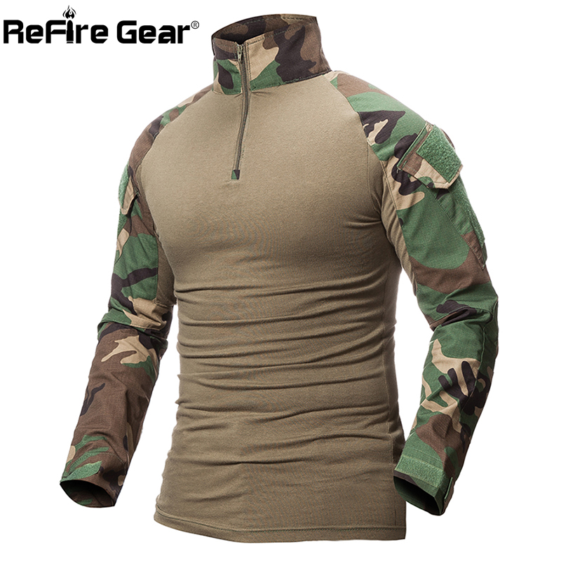 ReFire Gear Camouflage Army T Shirt Men US RU Soldiers Combat ...