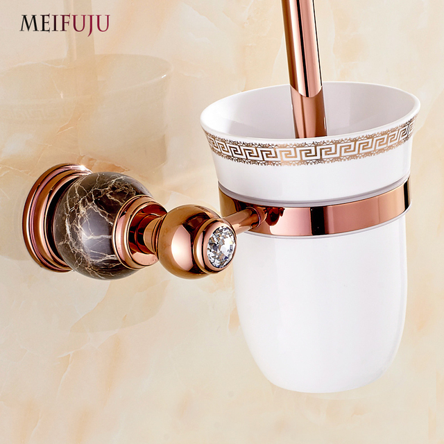 European Style Marble Toilet Brush Holder Rose Gold Plated White Jade Bathroom Products