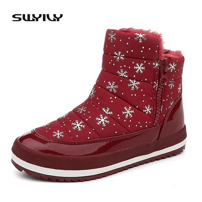 High Quality Warm Short Plush Women Ankle Snow Boots 3.5cm Med Heel with Platform Fashion Design Women Winter Boots Female Shoes