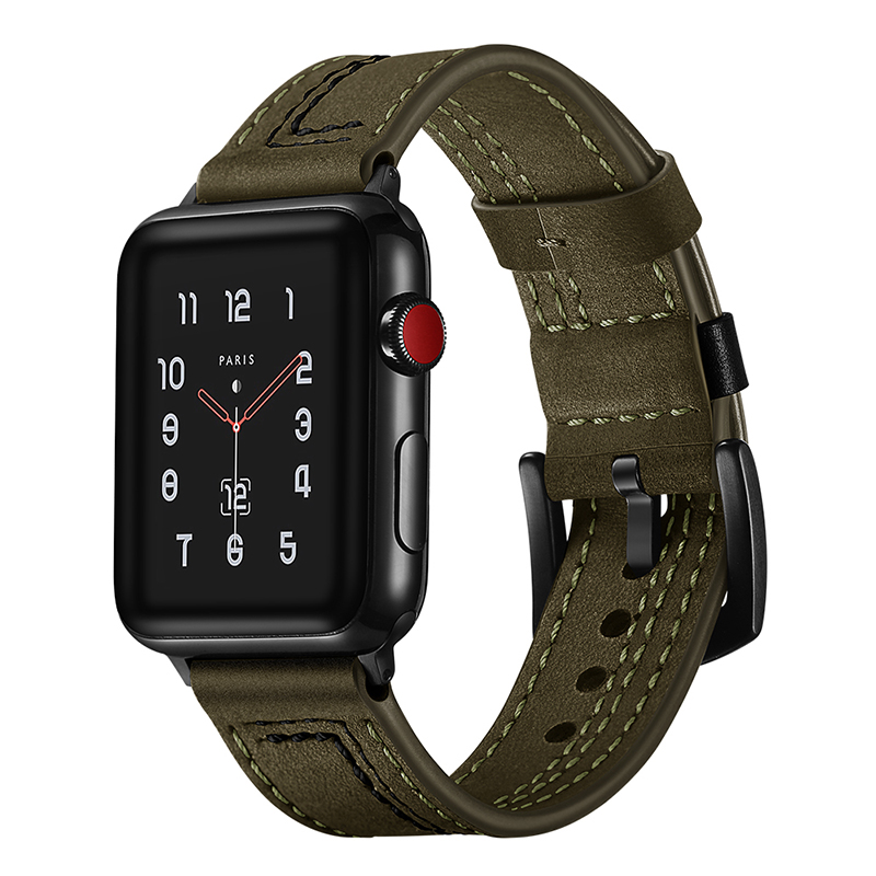 Newest 7 lLne Genuine Leather Watch Strap Band For Apple Watch Series 1 2 3 4 Watchbands iWatch Bands 38mm 42mm 40mm 44mm 20 colors sport band for apple watch band 44mm 40mm 38mm 42mm replacement watch strap for iwatch bands series 4 3 2 1
