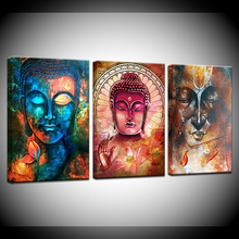 Classical Colorful Buddha Statue Canvas Painting Wall Art Abstract Decorative Print Poster