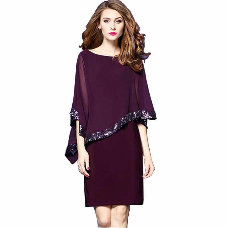 Oversized Women Dress Mesh Sequined Patchwork Irregular Cloak Sleeve Dress  Women Solid Casual Party Dresses Plus d898aef0b4ac