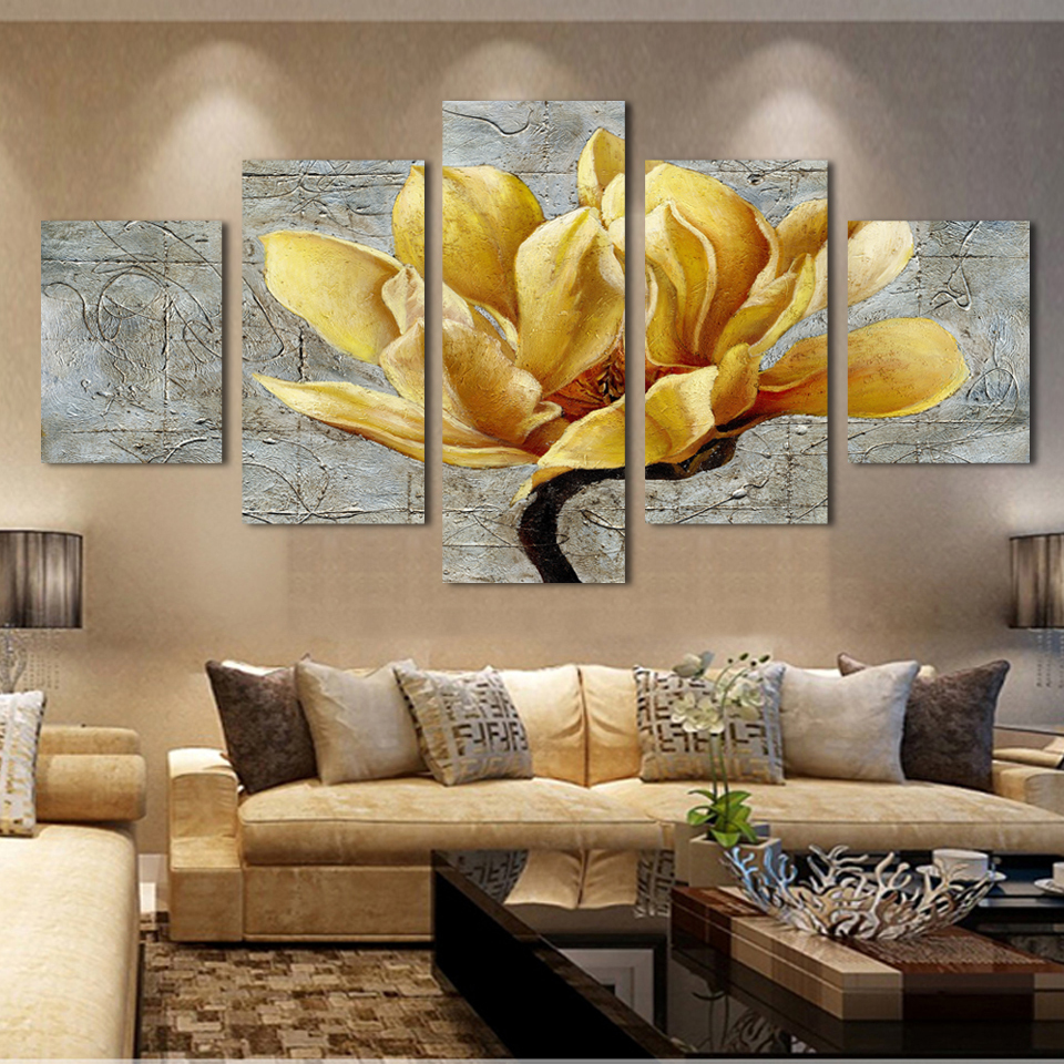 Modern flower paintings 5 piece large canvas print wall for Decoration murale one piece