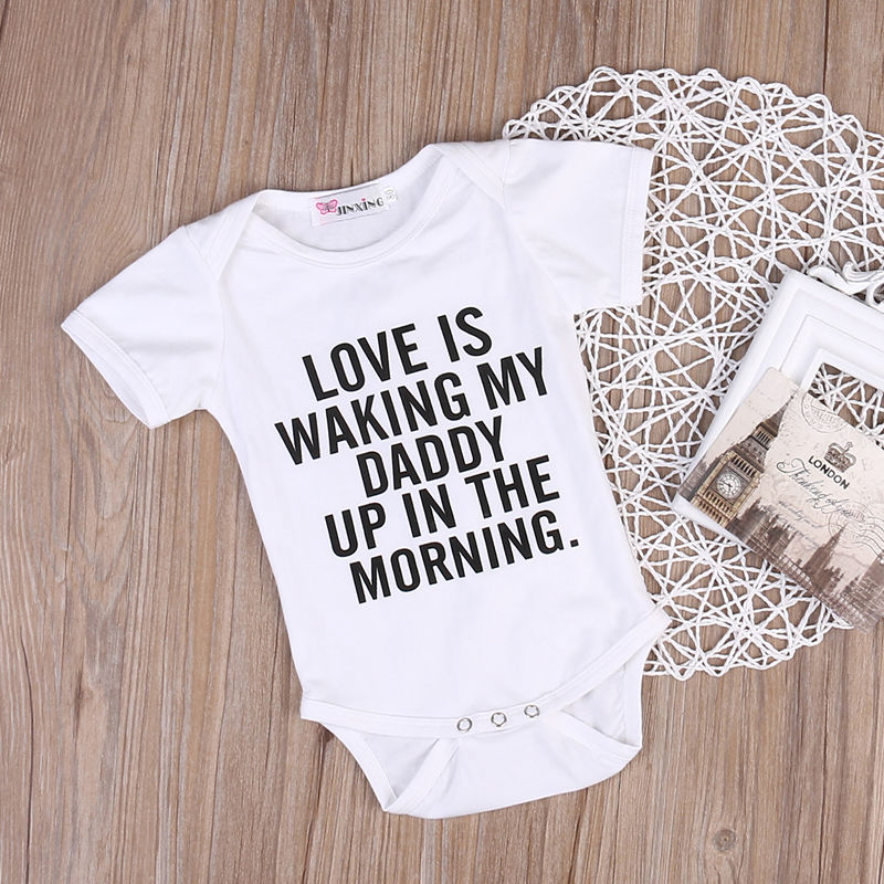 Newborn Baby Girl boy Clothes Letter Print Jumpsuit Romper Summer Short Sleeve Sunsuit Outfits Unisex Comfy Soft Baby Rompers