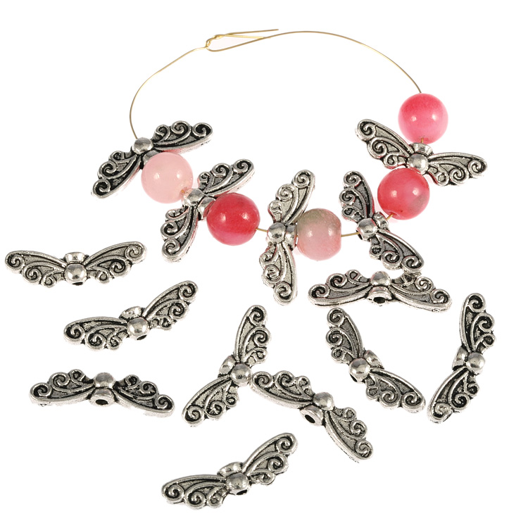 20Pcs Butterfly Wings Antique Tibetan Silver Charms Spacer Beads Jewelry Component 22*8mm