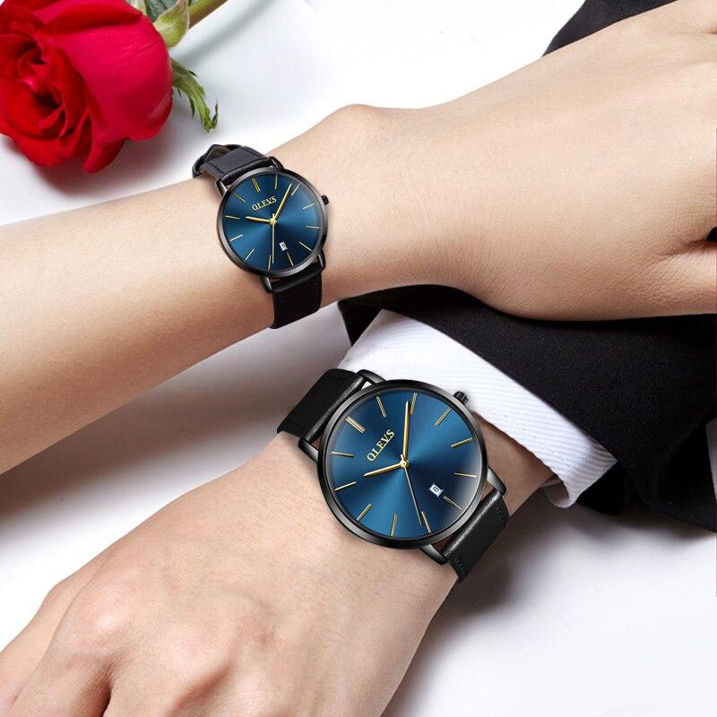 OLEVS Couple montres pour amoureux luxe top marque étanche style décontracté nouvelle mode ultra-mince Quartz cuir montre de haute qualité