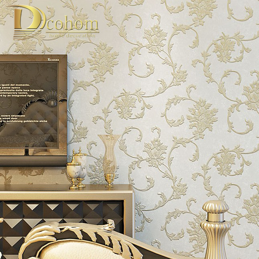 Embossed Flocking 3d Wallpaper for walls Europe Vintage Floral Pattern Wall Paper Home Decoration Papel De Parede Roll picture of mermaid pattern home appliances decoration 3d wall sticker