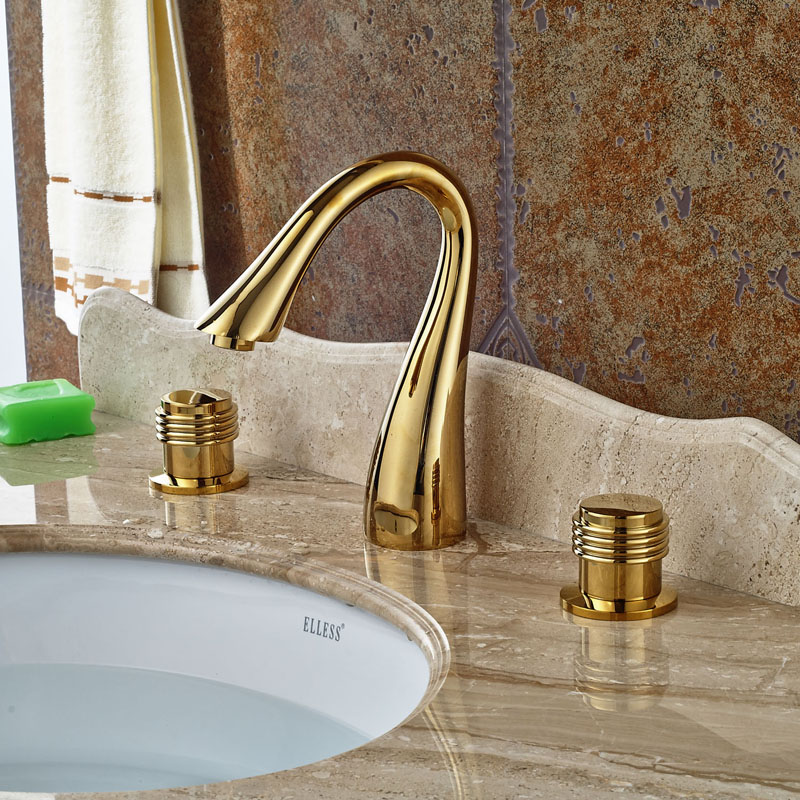 Gold Polished 3pcs Widespread Height Spout Bathroon Basin Mixer Tap 3 Holes Deck Mount