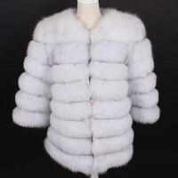 Real Fox Fur Coat Brand 2019 Winter Jacket Women Detachable Vest Thick Warm Streetwear Outerwear New Fashion Spring