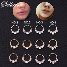 Sellsets 1PC Silver And Gold Color Tribal Indian Septum Piercing Nose Ring CZ Open Hoop Daith Earring Body Jewelry New Arrival