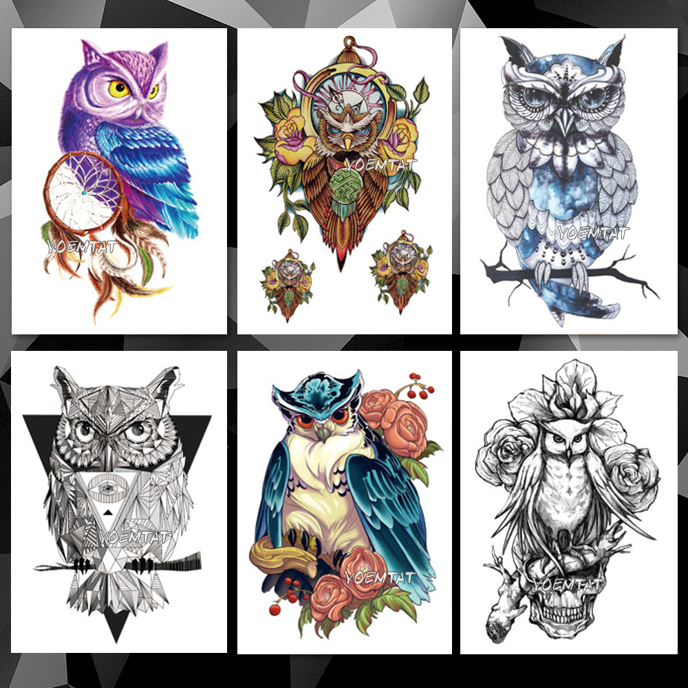 Waterproof Temporary Tattoo Sticker Wisdom Owl Pattern Tattoo Water Transfer Sketch Watercolor Animals Body Art Fake Tattoo