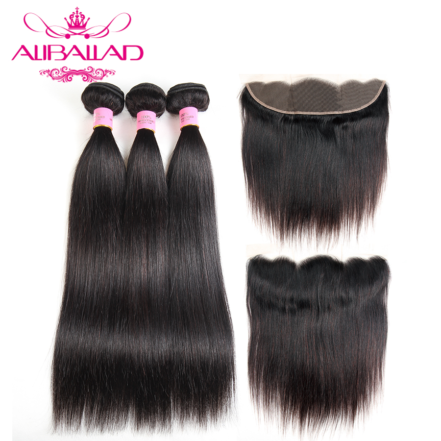 Aliballad Brazilian Human Hair Weave Straight Hair 3 Bundles With Frontal Closure Non Remy 13x4 Inch