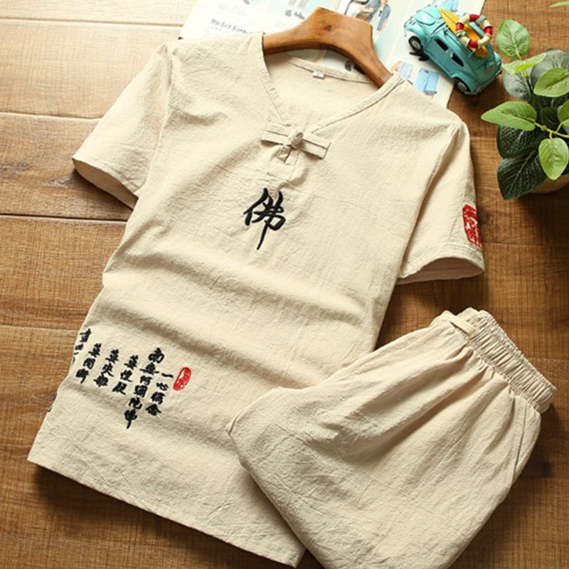 2018 summer fashion new mens casual linen short sleeve T-shirt / Mens Chinese style comfortable short sleeve top sets