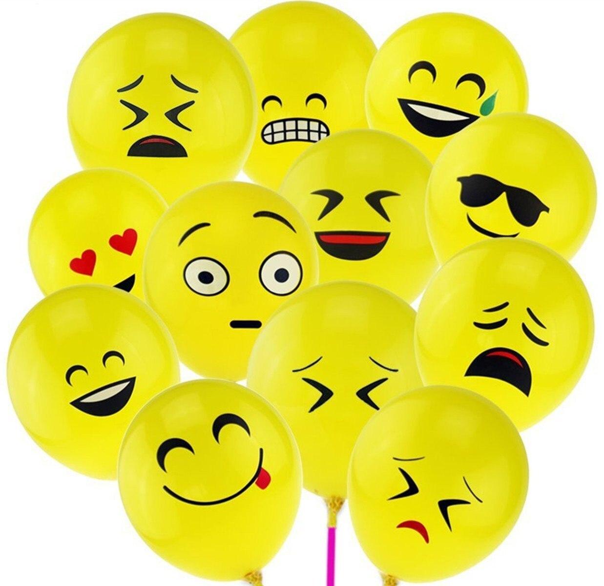 100pcs Emoji Balloons Smiley Face Expression Yellow Latex Balloons Cartoon Inflatable Balls 12 cute Cartoon Expression Balloon