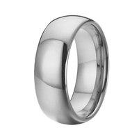 Ювелирные изделия 8 мм куполом свободный крой полировки серебристого цвета Мужские обручальное Titanium вольфрама кольца