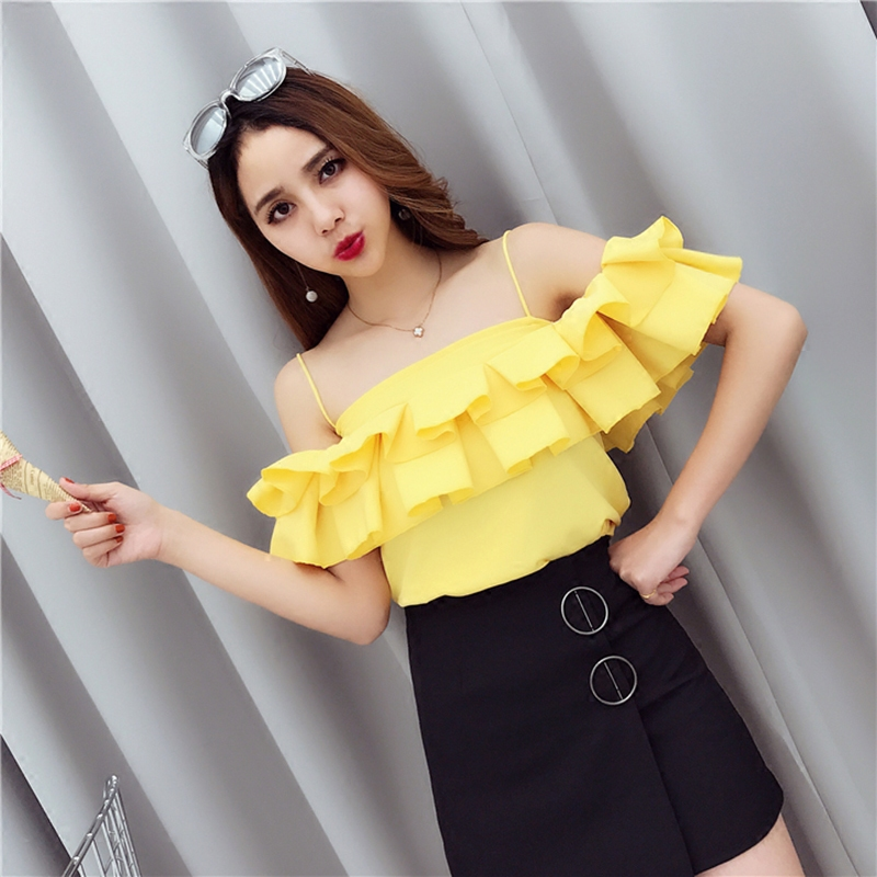 [Alphalmoda] Wome Sexy Strapless Flounce Shirt Slim Fit Candy Color Ruffle Cute Chiffon Blouse Shirts Women Summer Fashion Tops