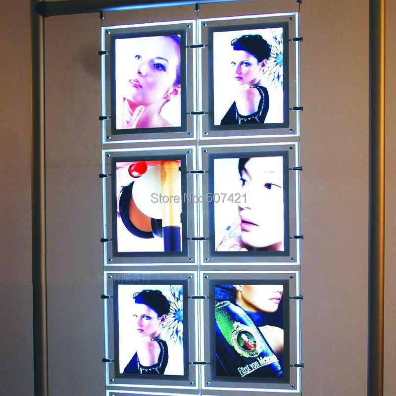 (6unit/column) A4 Double Side A4 Portrait 2x3 LED Window Display Kits,Retail Shop Window Portrait Cable Displays