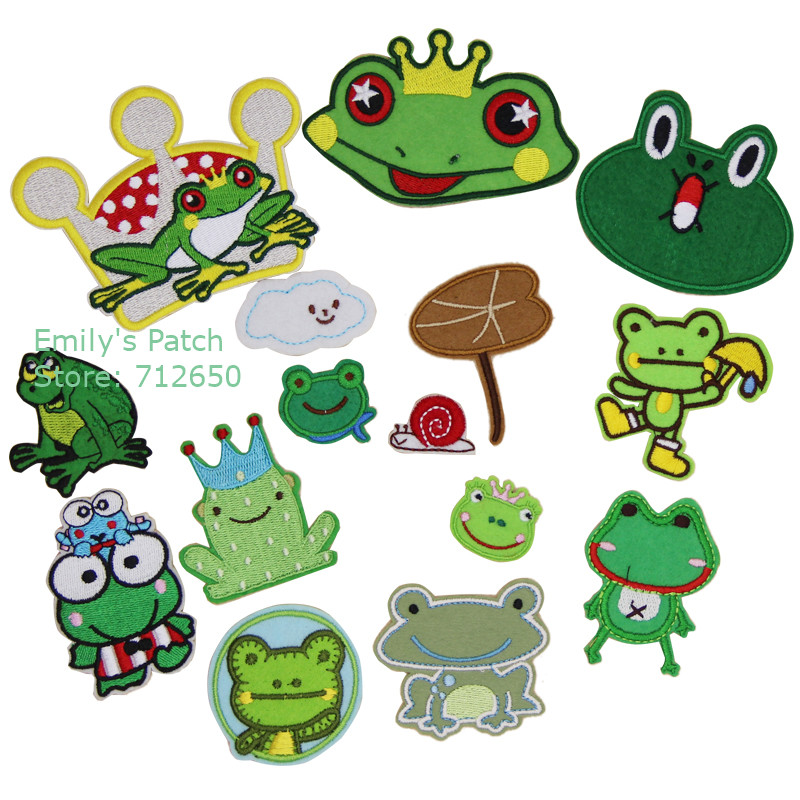 Cartoon Frogs Green and Blue Iron on Applique patch