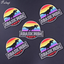 Pulaqi 5pcs/Lot Jurassic Park Biker Patches Eagle Sew On Garment Iron-on Sticker Embroidered DIY For Jeans Arm Badge Dinosaur F