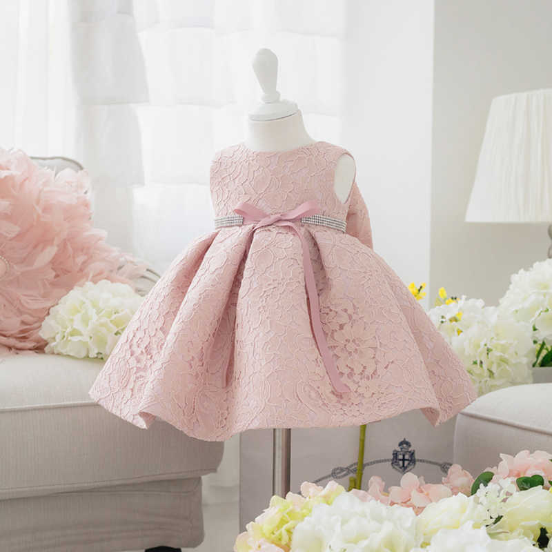 Newborn Baby Girl Dresses with Cap Super Back Bow Diamand Belt Baby  Christening Gowns 1 year 3974ae936d3d
