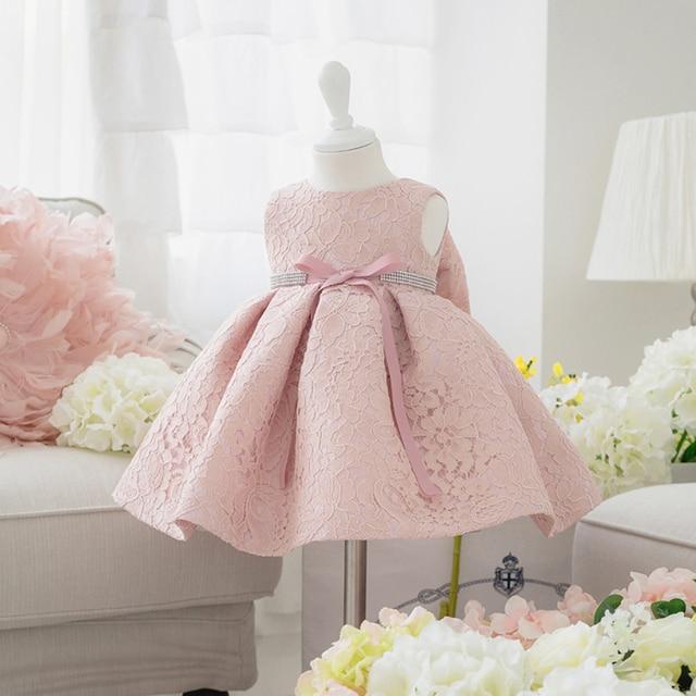 71b3f2147f3b Newborn Baby Girl Dresses with Cap Super Back Bow Diamand Belt Baby  Christening Gowns 1 year birthday dress vestido infantil