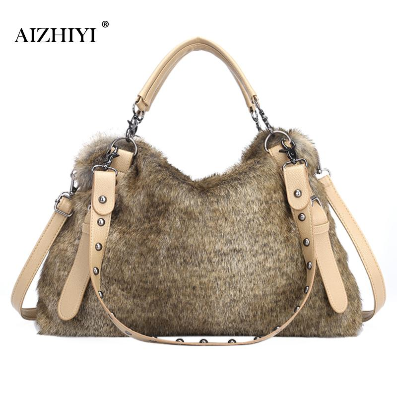 Women Autumn Winter Warm Handbags For Women Brand Female Faux Fur Shoulder Bags font b Big