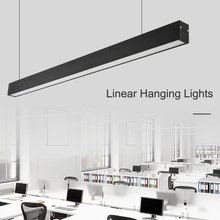 Office LED Chandelier Modern Simple Long Strip Aluminum Lamp Hanging Line Commercial Engineering Led