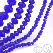 OlingArt 3/4/6/8/10mm Round Glass Beads Rondelle Austria faceted  crystal Blue color Loose bead DIY Jewelry Making