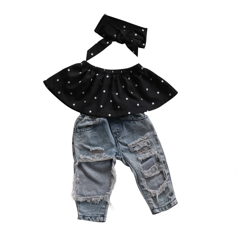 0-3Y Toddler Baby Girls Infant Newborn Cotton Polka Dot Blouse Top Hole Denim Jeans Pants Headband 3Pcs Set Kids Outfit Clothes 2pcs children outfit clothes kids baby girl off shoulder cotton ruffled sleeve tops striped t shirt blue denim jeans sunsuit set