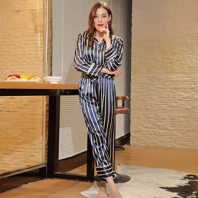 ef3c5c6ceb Women Striped Faux Silk Satin Pyjamas Set Long Sleeve Sleepwear Pijama Suit  Female Sleeping Clothing Two Piece Set Loungewear