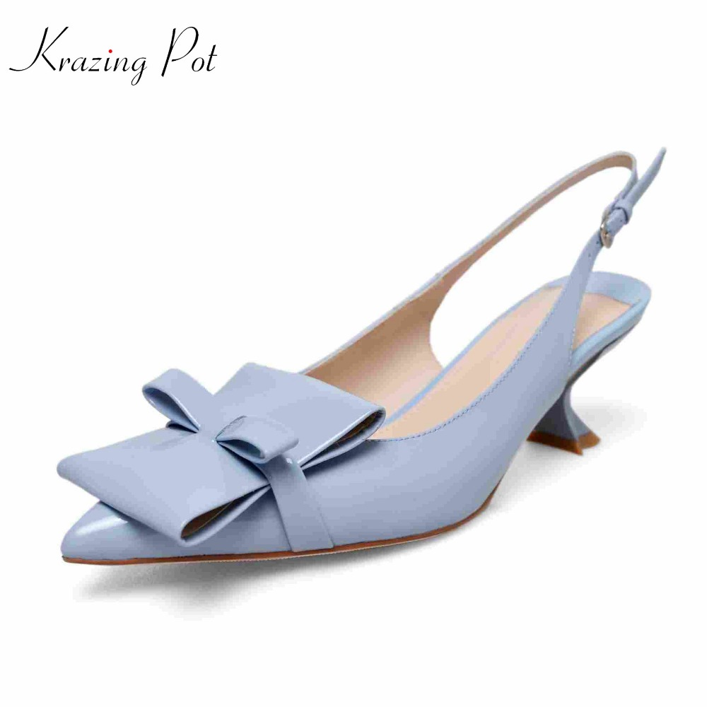 KRAZING POT nouveau en cuir véritable marque chaussures étrange mince talons hauts femmes pompes bout pointu nœud papillon décoration princesse chaussures L01