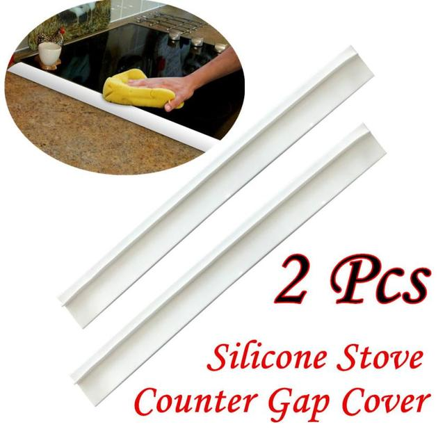2Pcs Kitchen Silicone Stove Counter Gap Cover Easy Clean Heat Resistant  Slit Fill White 5O0227