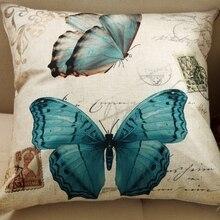 25 Estilos 45×45 cm Venta Caliente 2017 Nueva Mariposa 3D Cubierta Del Amortiguador de Lino Funda de Almohada de Aves Para La Decoración Coussin vendimia