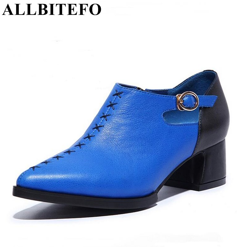 ALLBITEFO fashion casual genuine leather high heel shoes woman pointed toe thick heel mixed colors high quality women pumps