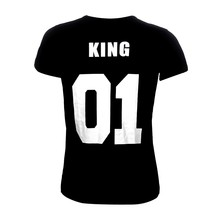 King Queen 01 Funny Letter Print Couples Leisure T-shirt Man Tshirt O neck T-shirt
