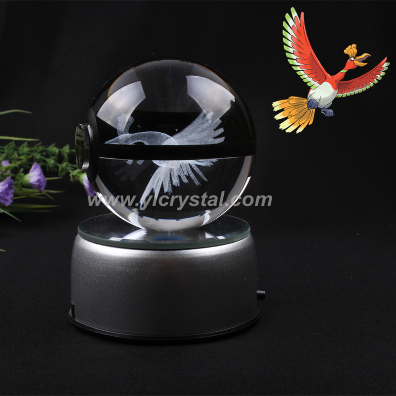 New Style HO-Oh Pokemon Ball With Engraving Crystal Ball For Gift With Gift Box