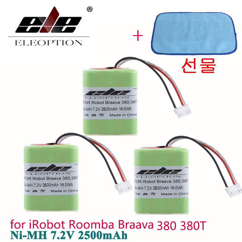 ELEOPTION Free Dishcloth 3PCS 7.2Volt 18.0Wh New 2.5Ah 2500mAh Ni-MH 7.2V Rechargeable Battery For IRobot Roomba Braava 380 380T
