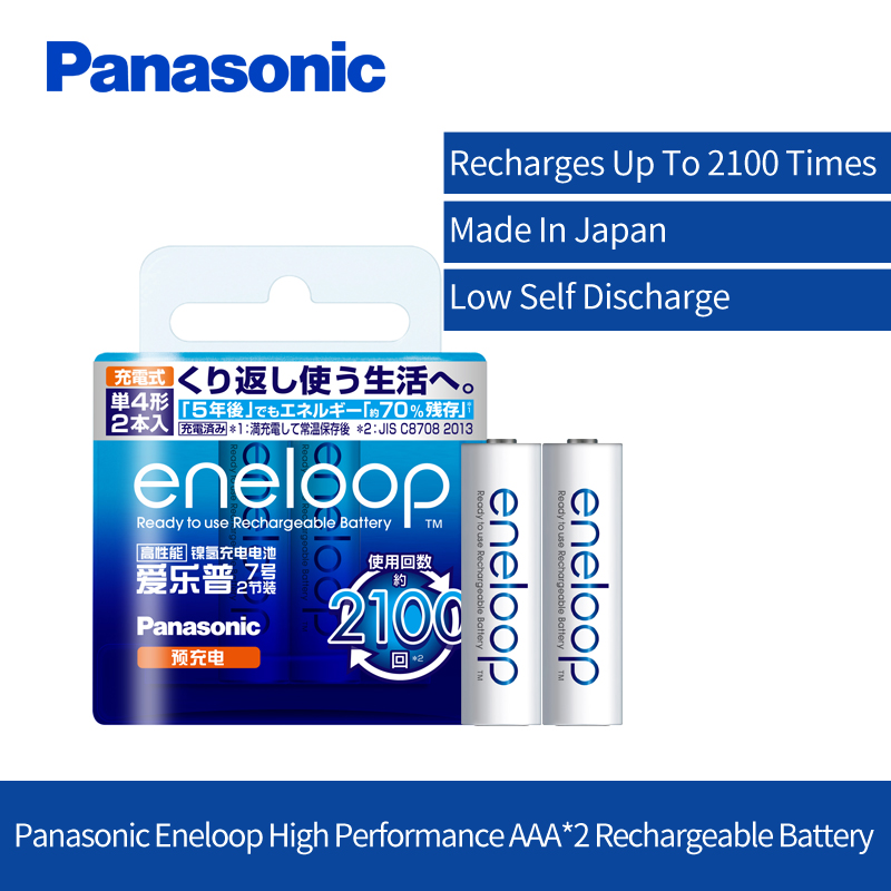 Original Panasonic AAA Rechargeable Battery 2pcs/lot 1.2V 800mAh Ni-MH Pre-Charged Batteries For Toys Camera Microphone eneloop
