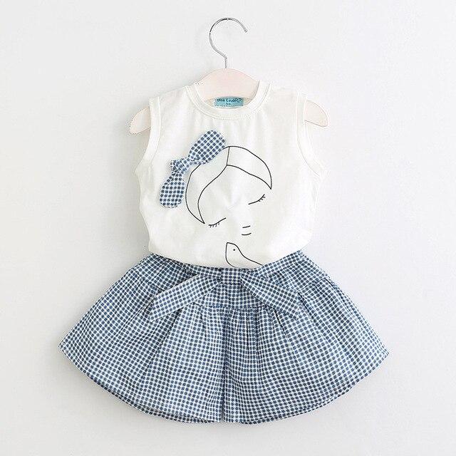 Летний пляжный стиль Одежда для девочек жилет футболки и юбка комплект в  клетку 2 шт. be69795ebee