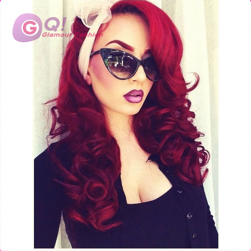 red lace front wig human hair natural wigs