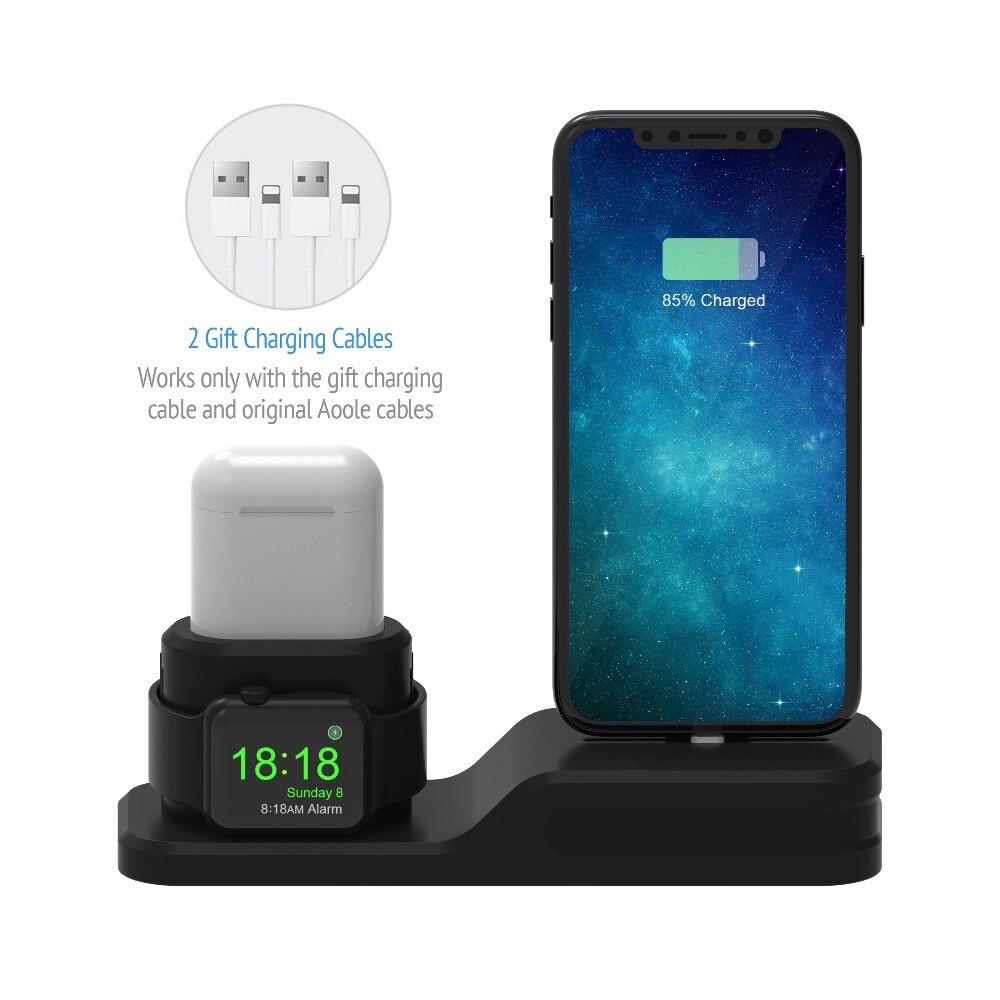 3 in 1 di Ricarica Dock Supporto Per Apple watch/Airpods Del Silicone supporto di ricarica Stazione Per IphoneX/Iphone8p/ iphone7plus/Iphone6/5se