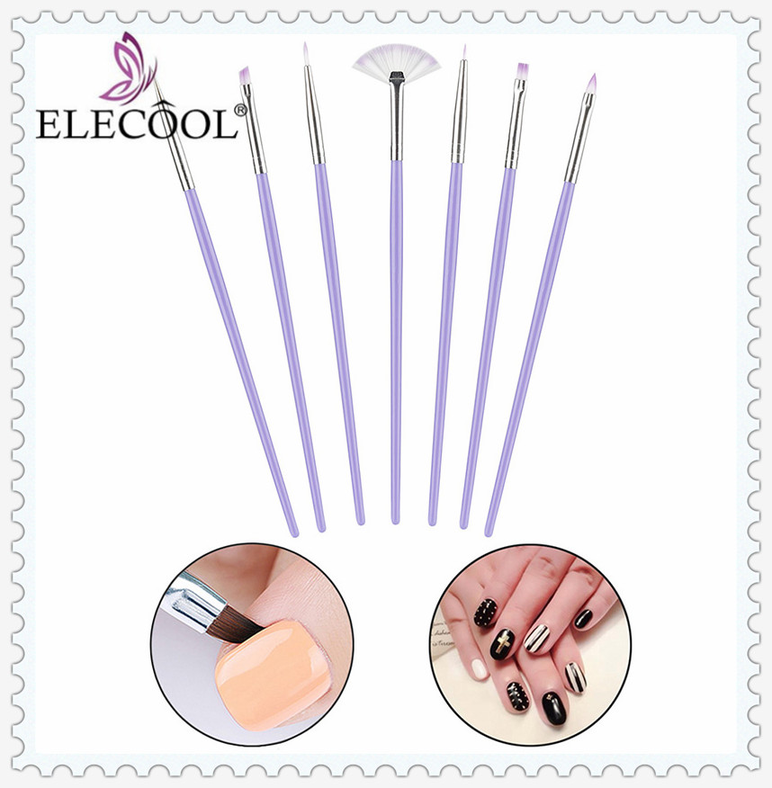 ELECOOL New 7pcs/set Luxury Purple Nail Art Design Brushes Manicure Tool Dotting Painting Drawing Pen Polish Pen Tips For Beauty