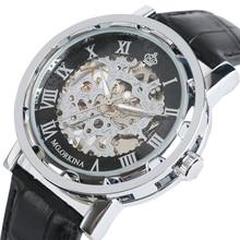Luxe Skeleton Hand Wikkeling Mechanische Horloge Analoge Lederen Band Strap Romeinse Nummer Wind up Cool Mannen Mannelijke polshorloge