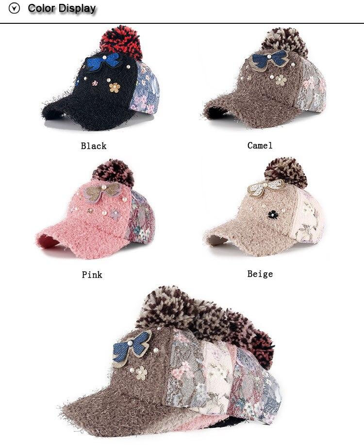 AKIZON New fashion winter cap diamante Rhinestone warm fur cap ... 6a401e330