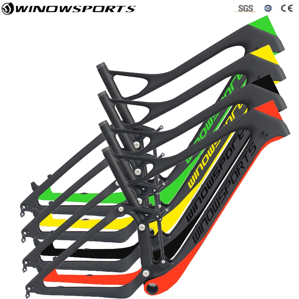 Full Suspension Mountain Bike Frame UD Full Carbon fiber matte Frame 142x12mm 29er 15.5/17.5/19/21inch full suspension MTB цена