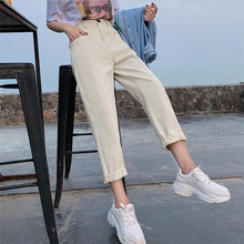 f5a3a3cd654 2019 Spring Cargo Pants Women s Trousers Korea Casual Plus Size  Ankle-length Big Pockets Lady