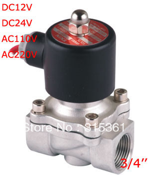"Free Shipping NEW 3/4"" Stainless Steel Solenoid Valve VITON Water Air Oil N/C 120'C 2S200-20 DC12V"