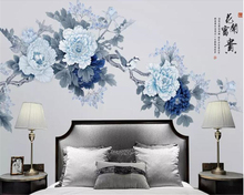 beibehang Classic Personality Wallpaper Elegant Peach Flower New Chinese Hand-painted Pen and Bird Background wall paper